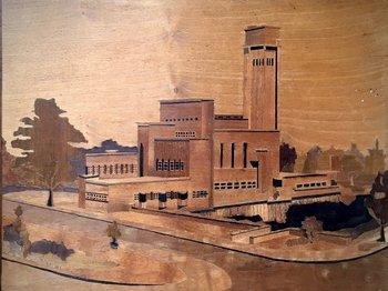 Houtnijverheid - Dudok's raadhuis Hilversum - Paneel -1930's